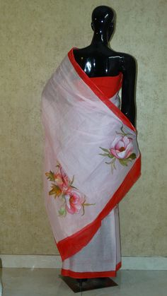 Pure Organdy Hand Painted Saree - Floral Pattern all Over Saree Painting, Hand Painted Sarees, Saree Floral, Paint Stripes, Light Pink Color, Hands, Pure Products, Clothes For Women, Detail