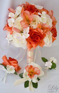 coral wedding bouquets   17pcs Wedding Bridal Bouquet Silk Flower Decoration Package Coral ...