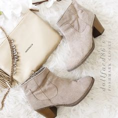 "Taupe Ankle Boots These boots are great for Spring because they look great with lighter colored outfits. Pair with distressed skinny jeans and a pretty sheer top for a stylish Spring look{actual color of item may vary slightly from pics}  *sole:11"" *sole width:4"" *heel:3""  *ankle to sole length:5"" *material:man made  *fit:true  *condition:pre-loved/basic wear on fabric no major damage   20% off bundles of 3/more items No Trades  NO HOLDS No transactions outside of Poshmark  No lowball offers…"