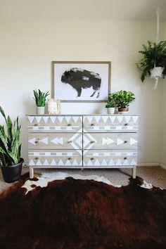 DIY Aztec Inspired Dresser Makeover and Nursery Sneak Peak - Dressers Today Paint Furniture, Furniture Makeover, Home Furniture, Dresser Makeovers, Antique Furniture, Dresser Remodel, Furniture Ideas, Geek Furniture, Diy Dresser Makeover