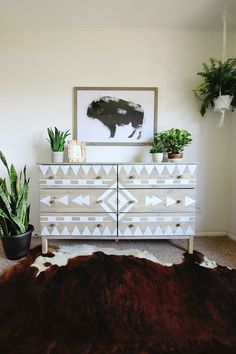 DIY Aztec Inspired Dresser Makeover and Nursery Sneak Peak