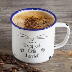 Personalised Enamel Mug - Crazy Cat Lady Personalized Fathers Day Gifts, You Are The Father, Enamel, Mugs, Tableware, Cat Lady, Teacher, Polish, Dinnerware