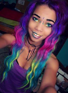 hair, hair color, rainbow hair, rainbow, multi-colored hair