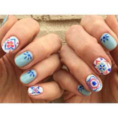 It's #summertime so that means I'm starting in on the #mexicantile #nailart !!! #perfect #patterns for #summer  #nailartist #nailartjunkie #nailedit #amberjean_design #nailartlove #nailswag #nailicon #handpainted