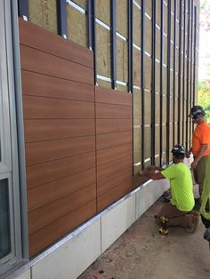 Trespa installation is underway at Serenity Apartments! Terrace Design, Facade Design, Fence Design, Exterior Design, Exterior Wall Cladding, House Cladding, Facade House, Exterior Wall Panels, Cladding Systems