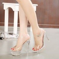 Wish | 2016 Crystal High-heeled Shoes Sexy Summer Chaussure Shoes Glass Slippers Jelly Shoes transparent crystal Sandal Peep Toes wedges sandals