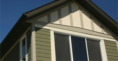 Re-siding your house with HardiePanel vertical siding—or combining it with HardiePlank® lap siding—is sure to add visual punch to your design. Stucco Finishes, 1970s House, Vertical Siding, Fiber Cement Siding, Ad Home, Wooden Pallet Projects, Tudor House, Tudor Style, Curb Appeal