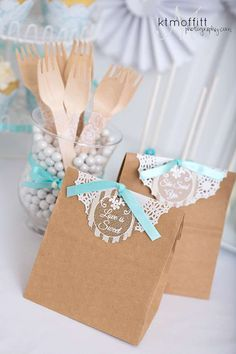 Pretty paper bag favors at a bridal shower party! See more party ideas at CatchMyParty.com!