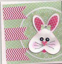 handmade Easter card: Mojo #338 Monday by bmbfield ... another adorable version of the uipside down heart head bunny ... small print patterned papers let the design shine ... great card!!