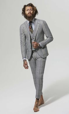 "completewealth: "" The suit doesn't make the man, the man makes the suit. C/o: Gabriele Pasini S/S File under: Suits, Windowpane, Patterns, Ties COMPLETE WEALTH MAG "" Sharp Dressed Man, Well Dressed Men, Italian Mens Fashion, Plaid Suit, Tuxedo Suit, Business Formal, Spring Summer 2015, Men Summer, Gentleman Style"
