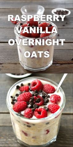 These raspberry vanilla overnight oats are such an easy healthy breakfast Try this recipe for a delicious gluten-free vegan treat in the morning overnightoats raspberry Overnight Oats Vegan Rezept, Low Calorie Overnight Oats, Raspberry Overnight Oats, Overnight Oats With Yogurt, Easy Overnight Oats, Oats Recipes, Smoothie Recipes, Smoothies, Meals In A Jar