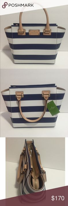 """Kate Spade Small Camryn Wellesley Printed Kate Spade Small Camryn Wellesley Printed  • Color: Cm/Navystr • Material: smooth leather • Measurment: 13x9x9x5 • Brand new. Never used • Tag and care card are included • No trade No hold • Plz use OFFER button for reasonable offers. I said """"YES"""" most of the time. kate spade Bags Satchels"""