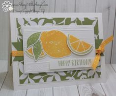 I used the Stampin' Up! Lemon Zest stamp set bundle to create my card for the Fab Friday sketch challenge this week. Here is the sketch for for Fab Friday Hope that you'll stop by the Fab Fri… Stampin Up Catalog, Stamping Up Cards, Some Cards, Handmade Birthday Cards, Scrapbook Cards, Homemade Cards, I Card, Cardmaking, Creations
