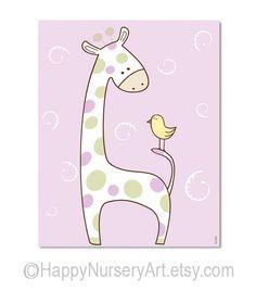 Children babies art print nursery decor wall art giraffe bird cute safari animals light blue newborns gift. $14.00, via Etsy.