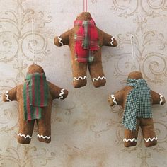 Gingerbread Cloth Christmas Ornaments  Set of by BarkingDogDesigns, $13.50