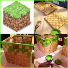 MineCraft baskets using Ikea Näsum and craft paint. Kid kinda likes this, maybe a craft for him to do as part of upcoming bedroom overhaul.