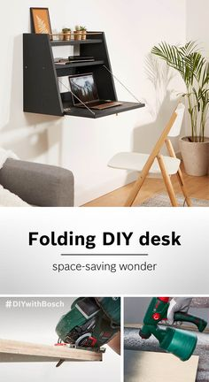 Bedroom Setup, Bedroom Decor, Space Saving Furniture, Diy Furniture, Small Bedroom Inspiration, Small Home Offices, Design Your Own Home, Folding Desk, Do It Yourself Furniture