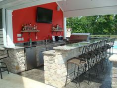 Outdoor Kitchen Pool House Snack Bar Granite Stone Stamped Concrete
