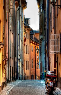 The iconic architecture and cobblestone alleyways of Gamla stan, Stockholm, Sweden