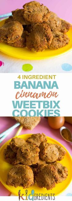 Only 4 ingredients are needed to make these easy mix and easy bake weetbix banana cinnamon cookies. Kid friendly, perfect for the lunchbox! #kidsfood #4ingredients #cookies #healthykids #weetbix #freezerfriendly