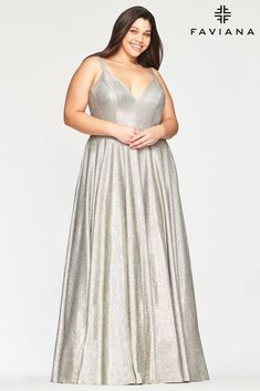 Faviana 9493 Long Plus Size Metallic Prom Dress | The Dress Outlet Metallic Prom Dresses, Plus Prom Dresses, Prom Dresses With Pockets, Designer Prom Dresses, Unique Dresses, Prom Gowns, Formal Dresses, Wedding Dresses, Dress Collection