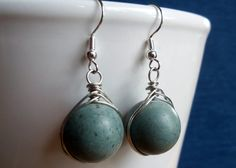 Slate Blue Gemstone Silver Tone Earrings via Etsy