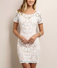 Look what I found on #zulily! Ivory Scoop Neck Lace Dress #zulilyfinds