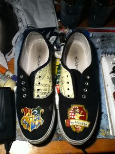 Items similar to Harry Potter Shoes on Etsy Harry Potter Shoes, Harry Potter Wedding, Painted Shoes, Crafty Craft, Girl Stuff, On Shoes, Bugs, Smile, Fantasy