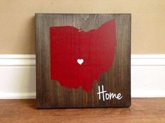 Pick Colors, Ohio Wood Sign, Custom Ohio State Sign, Stained and Hand Painted, Personalize, Ohio decor, Buckeyes decor