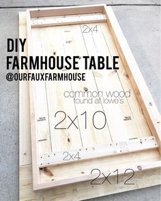 DIY farmhouse table with measurements - let's make some from cheap wood and shar. DIY farmhouse table with measurements – let's make some from cheap wood and share our master pi Diy Wood Projects, Furniture Projects, Home Projects, Wood Crafts, Diy Furniture, Woodworking Projects, Teds Woodworking, Furniture Design, Furniture Plans
