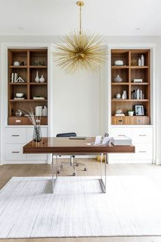 Modern office with built ins lighting – Modern Home Office Design Home Office Layouts, Home Office Space, Home Office Decor, Home Decor Bedroom, Desk Space, Modern Office Decor, Small Office, Modern Office Furniture, At Home Office Ideas