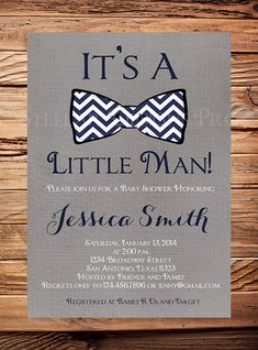 Baby shower Invitation boy, Bow Tie Boy Shower,  Little Man, Dark Gray Linen, Navy, Teal, vintage, Chevron Stripes, Printable