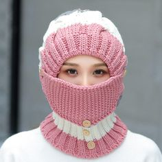 Women Winter Windproof Warm Plus Velvet Knit Hat Scarf Set with Face Mask Thicke. Women Winter Windproof Warm Plus Velvet Knit Hat Scarf Set with Face Mask Thicken Ski Earmuffs Cap Crochet Faces, Cute Crochet, Knit Crochet, Hats Online, Earmuffs, Baby Sweaters, Hat Making, Hats For Women, Knitted Hats