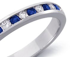 Channel Set Sapphire and Diamond Ring in White Gold ct. Natural Sapphire Rings, Sapphire And Diamond Band, Sapphire Solitaire Ring, Blue Sapphire Rings, Wedding Blue, Vintage Rings, Law, Channel, White Gold