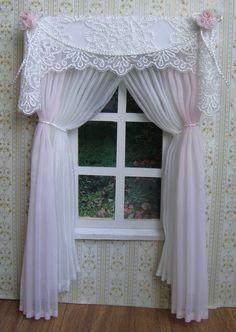 Miniature 1:12 Dollhouse curtains