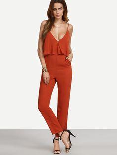 Combi-pantalon à bretelle sans manche avec poches - rouge -French SheIn(Sheinside)