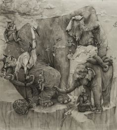 Elephants by Adonna Khare The painting is also the 2012 winner at ArtPrize . Cool Pencil Drawings, Amazing Drawings, Pencil Art, Amazing Art, Art Drawings, Gravure Illustration, Art Et Illustration, Elephant Art, Elephant Drawings