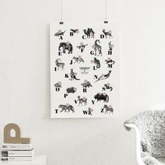 The True Type Poster, ABC der Säugetiere / alphabet of mammals in Deutsch/Englisch, DIN A1, Plakat, Typografie, Design