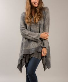 Another great find on #zulily! Gray Layer Mohair-Blend Sidetail Pullover #zulilyfinds