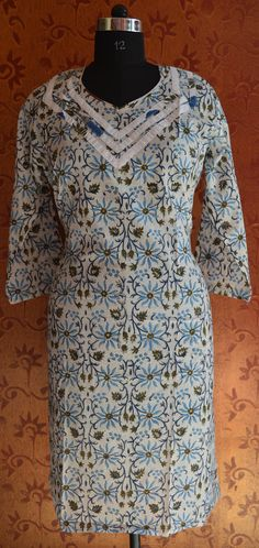 Hand Block Printed Cotton Hand Made Floral Printed Tunic Kurta Dress Night  Gown 27209972bbfd