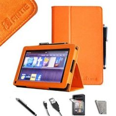 Fintie Orange PU Leather Folio Case Cover Value Package with Free Screen Protector/Stylus/USB cable for Amazon Kindle Fire 7 Inches Tablet