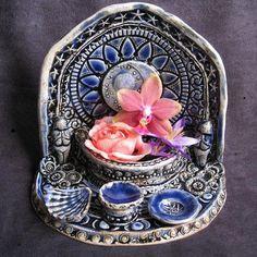 Magical Moon Grotto Tea Light Goddess Shrine by LastChantsStudio Pagan Altar, Good Vibe, Magick, Witchcraft, Gods And Goddesses, Book Of Shadows, Tea Lights, Creations, Ceramics