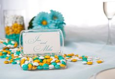 A clear plastic case filled with personalized #MYMMS would make the perfect wedding favor!