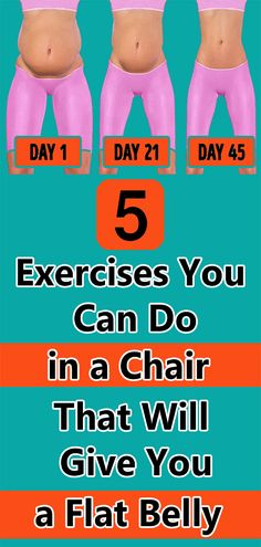 5 Exercises You Can Do in a Chair That Will Give You a Flat Belly - 5 Exercises You Can Do in a Chair That Will Give You a Flat Belly Health And Fitness Tips, Fitness Diet, Health And Beauty, Health And Wellness, Senior Fitness, Flat Belly, Belly Belly, Flat Stomach, Keep Fit