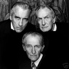 The Bat Pack: Christopher Lee, Vincent Price, Peter Cushing. Their birthdays were close together: Peter Cushing: May Vincent Price: May Christopher Lee: May 1922 Vincent Price, Classic Hollywood, Old Hollywood, Peter Cushing, Horror Icons, Famous Faces, Johnny Depp, Belle Photo, Foto E Video