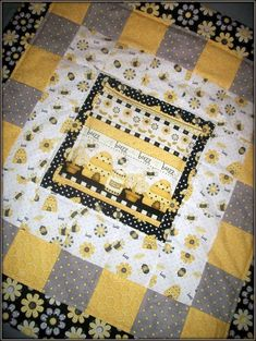 yellow and grey quilts for babies   Modern Baby Yellow, Black, Grey and White Bumble Bee Quilt