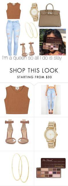 """""""Queens Slay👑💕"""" by soleils ❤ liked on Polyvore featuring Samuji, Gianvito Rossi, DKNY, Lana and Too Faced Cosmetics"""