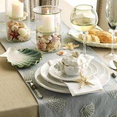 Summer tablescape~ Cream & Light Blue, White Candles~ Shells, Sand, Glass