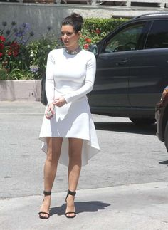 Kim Kardashian in Nha Khanh dress, Céline black calf velvet Mulese sandals & Céline ID choker necklace