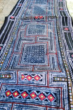 Hmong Vintage indigo Batik Cotton Fabric handmade by dellshop